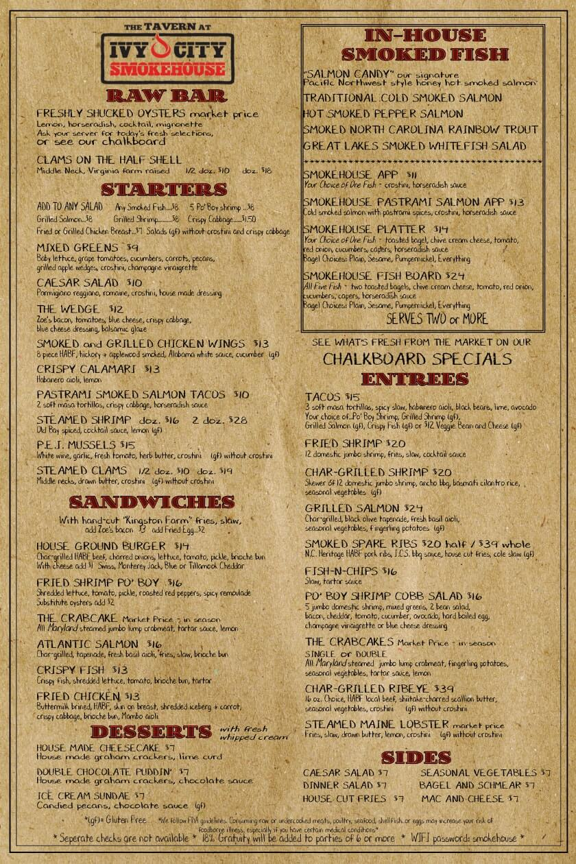Ivy City Tavern Menu - Front