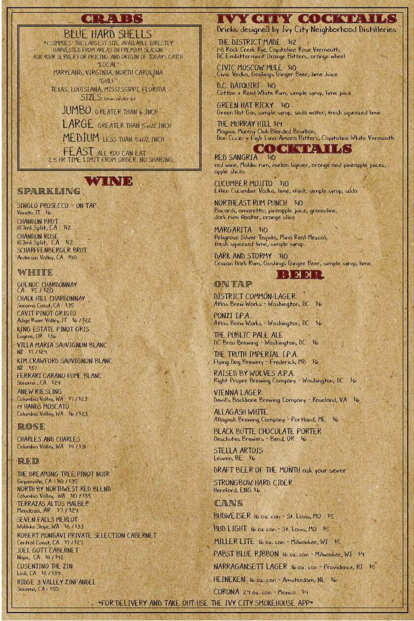 Ivy City Tavern Menu - Back